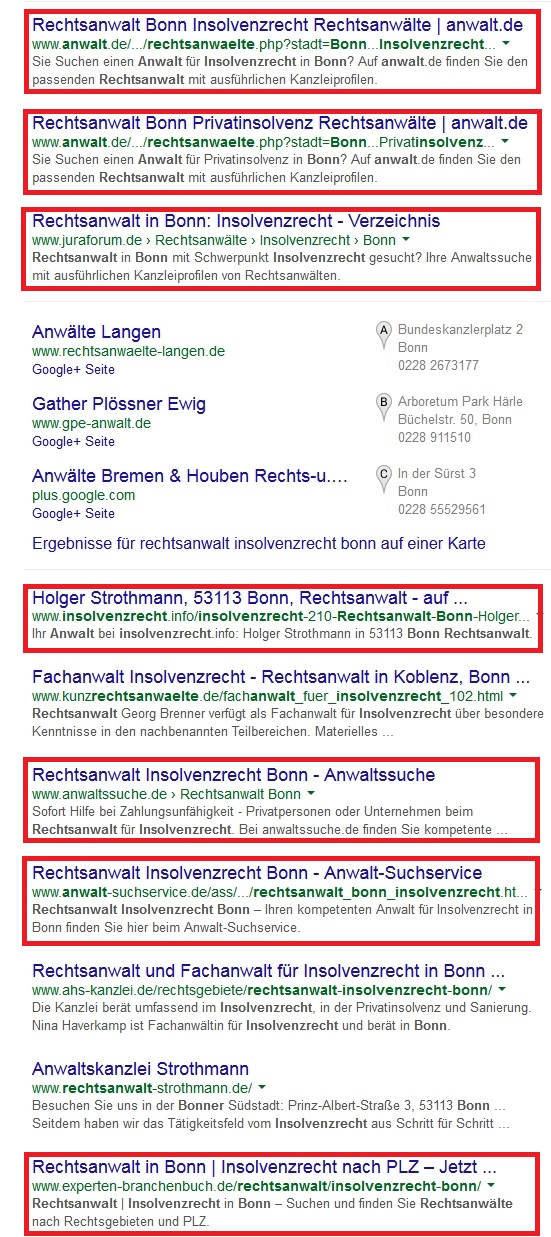 Screenshot SERP Rechtsanwalt Insolvenzrecht Bonn