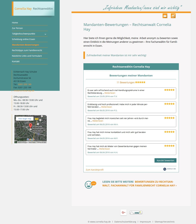 Darstellung 2: Einbindung eines Widgets mit Mandantenbewertungen von anwalt.de auf der Unterseite einer Kanzlei-Homepage