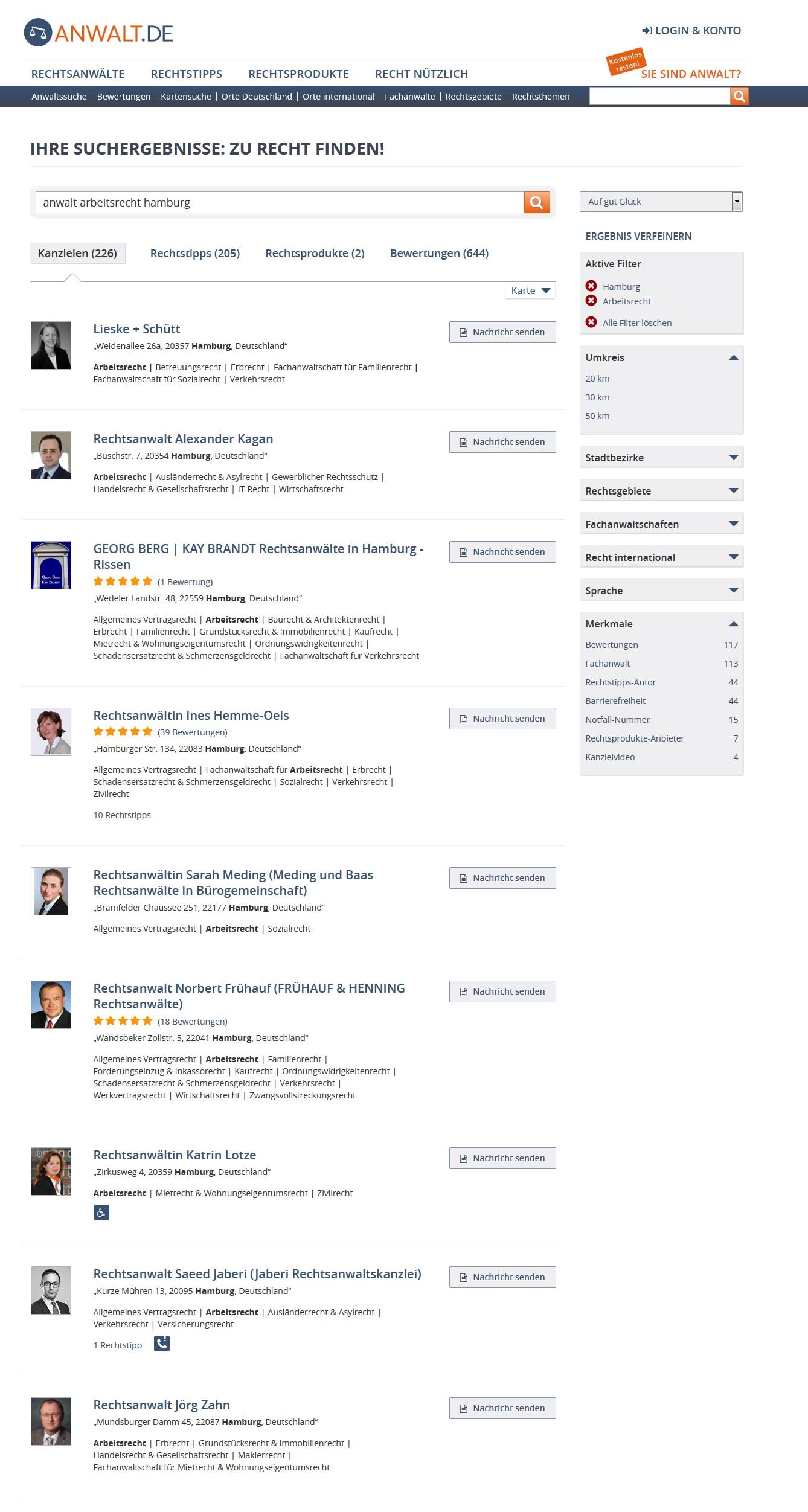 Darstellung 4: Suchergebnisseite von anwalt.de. Einträge mit Mandantenbewertungen heben sich von den anderen ab.