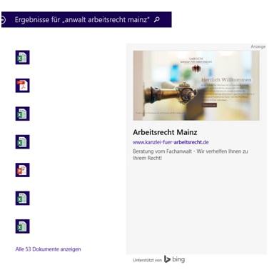 Abbildung 3: Suchergebnisse in Windows 10