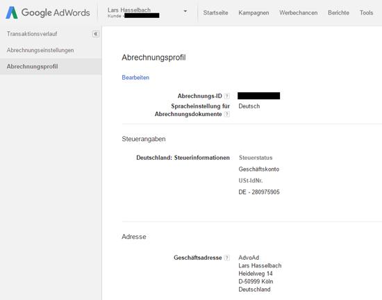 """Abbildung 2: Im Bereich """"Abrechnungsprofil"""" des AdWords-Kontos wird die USt-ID eingetragen. Hier ist außerdem ersichtlich, dass es sich um ein Geschäftskonto handelt."""